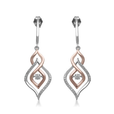 Fine Jewelry Love in Motion 1/3 CT. T.W. Diamond 10K White Gold Round Earrings qCwwiqUm1