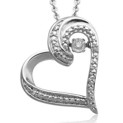 Love in Motion™ Diamond-Accent Sterling Silver Tilted Heart Pendant Necklace