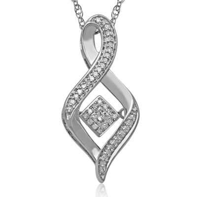 Love in Motion™ 1/6 CT. T.W. Diamond Sterling Silver Swirl Pendant Necklace