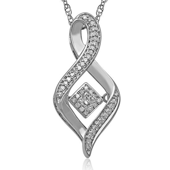 Love In Motion 1 6 Ct Tw Diamond Sterling Silver Swirl Pendant Necklace