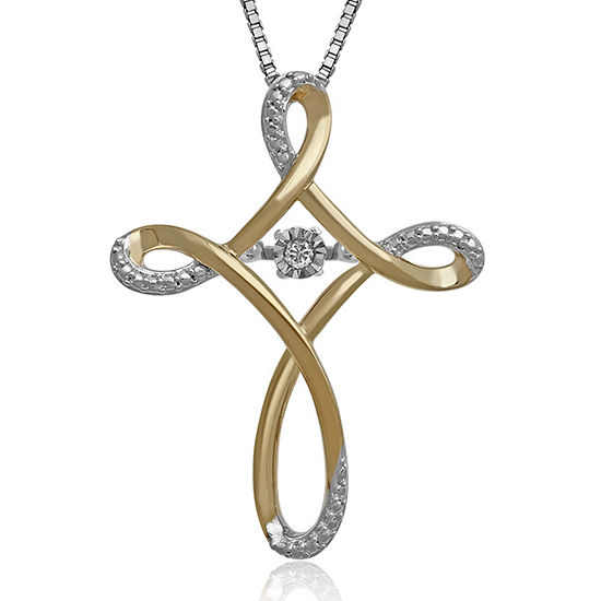 Love in Motion™ Diamond-Accent Two-Tone Cross Pendant Necklace