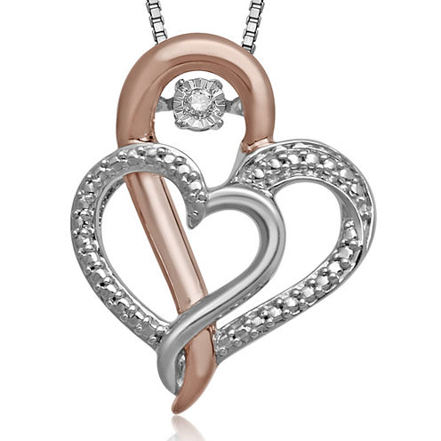 Love in Motion™ Diamond-Accent Two-Tone Double-Heart Pendant Necklace