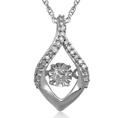 Love in Motion™ 1/10 CT. T.W. Diamond 10K White Gold Teardrop Pendant Necklace