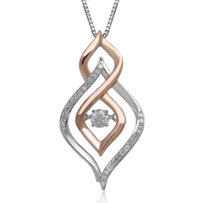 Love in Motion™ 1/4 CT. T.W. Diamond 10K Two-Tone Gold Teardrop Pendant Necklace
