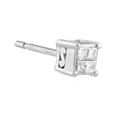 Diamond-Accent 10K White Gold Single Stud Earring
