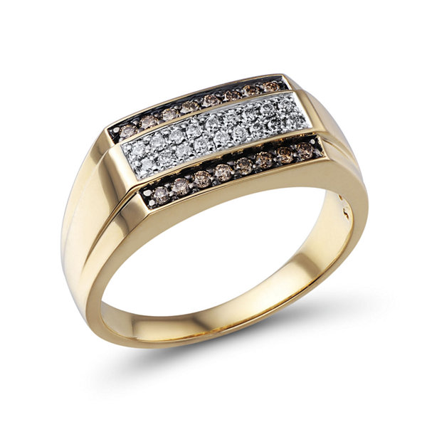 Mens 3/8 CT. T.W. Champagne and White Diamond 10K Yellow Gold Ring