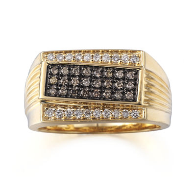 Mens 1/2 CT. T.W. Champagne and White Diamonds 10K Yellow Gold Ring