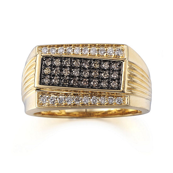 Mens 1 2 Ct Tw Champagne And White Diamonds 10k Yellow Gold Ring