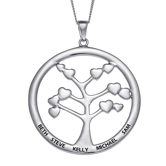 Personalized Sterling Silver Family Tree Engraved Name Pendant Necklace