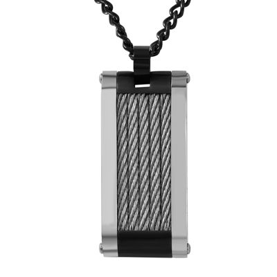 Mens Two-Tone Stainless Steel Rope Dog Tag Pendant Necklace