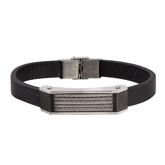 Men's Two-Tone Stainless Steel Leather Bracelet