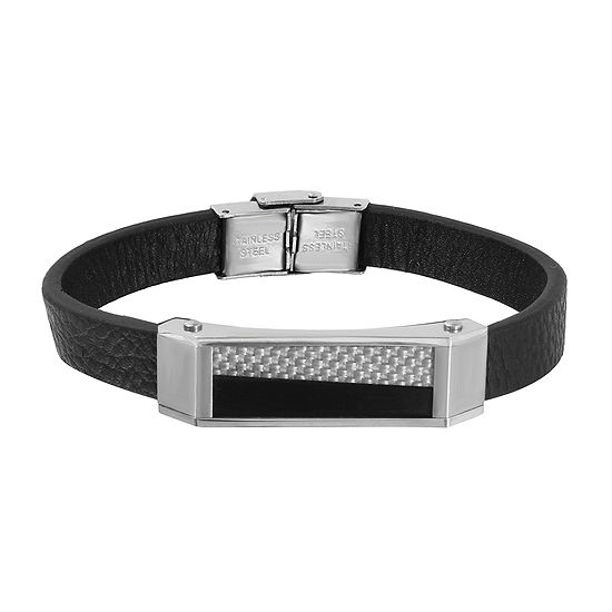 Mens Two-Tone Stainless Steel Leather Bracelet