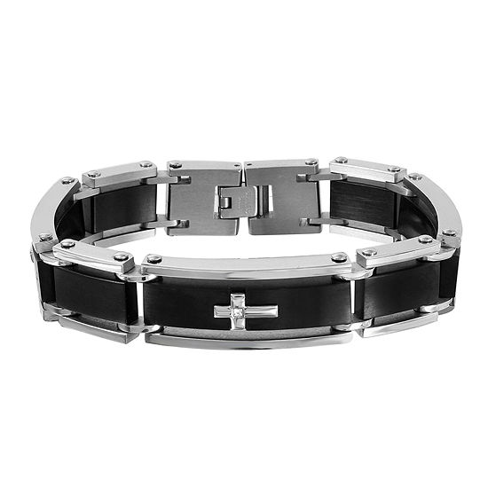 Mens Diamond Accent Two Tone Stainless Steel Cross Bracelet