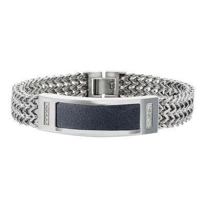 Mens 1/10 CT. T.W Diamond Two-Tone Stainless Steel Bracelet
