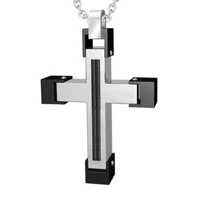 Mens Stainless Steel and Black Cable Cross Pendant