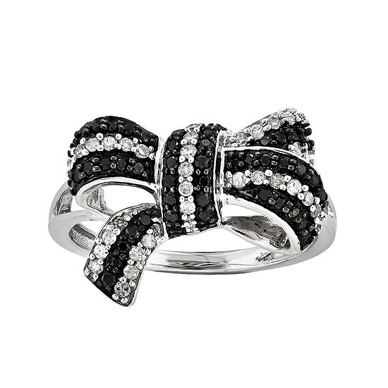 1/3 CT. T.W. White and Color-Enhanced Black Diamond Bow Ring