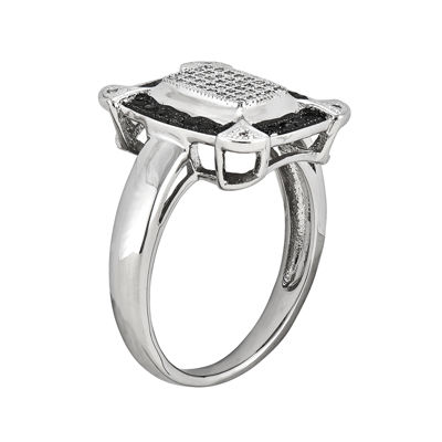 1/3 CT. T.W. White and Color-Enhanced Black Diamond Square Ring