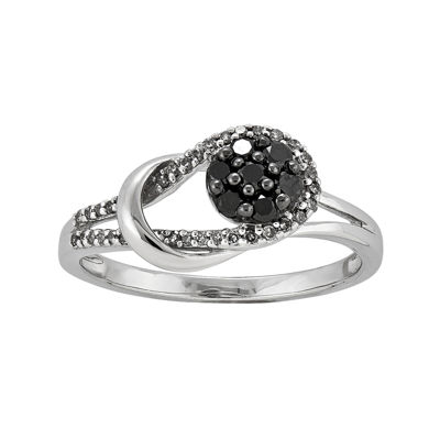 1/3 CT. T.W. White and Color-Enhanced Black Diamond Love Knot Ring