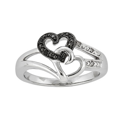 White and Color-Enhanced Black Diamond-Accent Double-Heart Ring