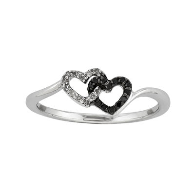 1/10 CT. T.W. White and Color-Enhanced Black Diamond Double-Heart Ring