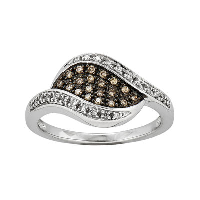 1/5 CT. T.W. White and Champagne Diamond Marquise Ring
