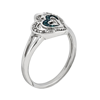 White and Color-Enhanced Blue Diamond-Accent Double-Heart Ring