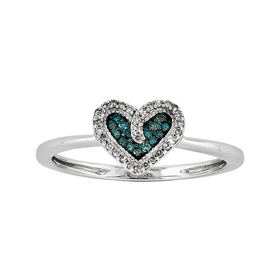 1/10 CT. T.W. White and Color-Enhanced Blue Diamond Heart Ring