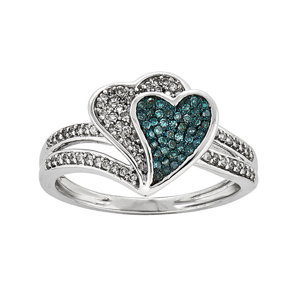 1/3 CT. T.W. White and Color-Enhanced Blue Diamond Double Heart Ring