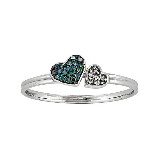 White and Color-Enhanced Blue Diamond-Accent Double Heart Ring