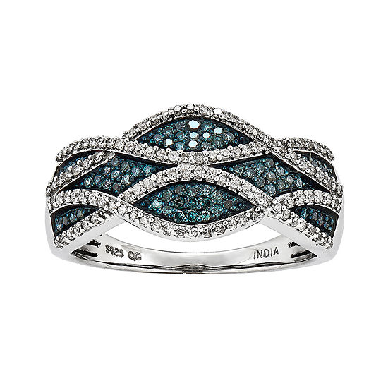 3/8 CT. T.W. White and Color-Enhanced Blue Diamond Swirl Ring