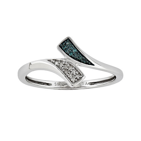 White and Color-Enhanced Blue Diamond-Accent Bypass Ring