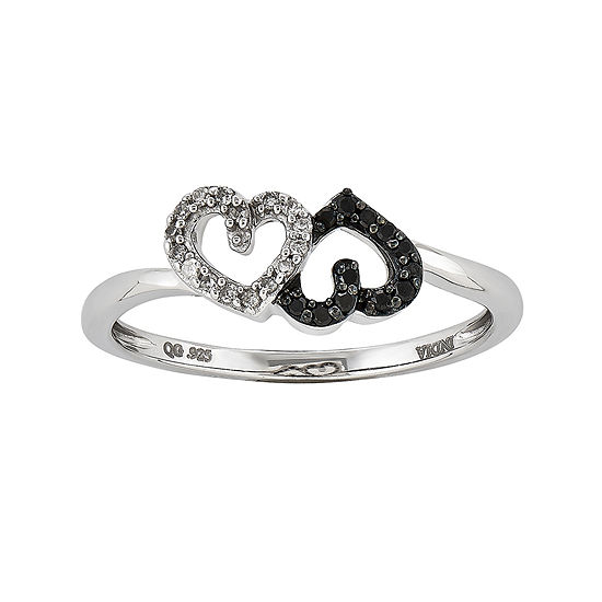 1 10 Ct Tw White And Color Enhanced Black Diamond Double Heart Ring