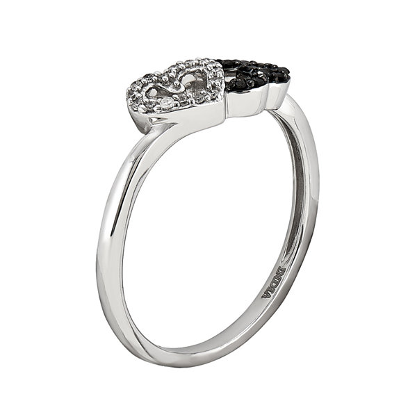 1/10 CT. T.W. White and Color-Enhanced Black Diamond Double Heart Ring