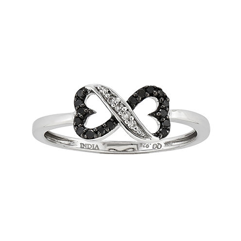 1/10 CT. T.W. White and Color-Enhanced Black Diamond Connected Heart Ring