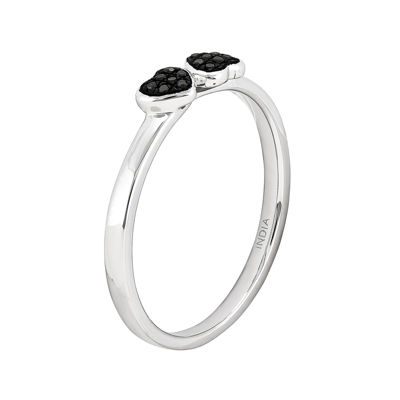 Color-Enhanced Black Diamond-Accent Double Heart Stackable Ring
