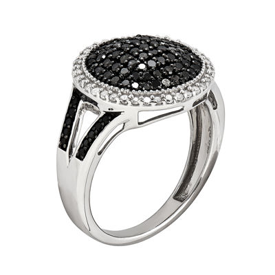 3/4 CT. T.W. White and Color-Enhanced Black Diamond Dome Ring