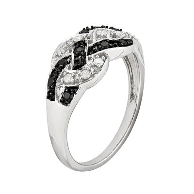 1/4 CT. T.W. White and Color-Enhanced Black Diamond Loop Ring