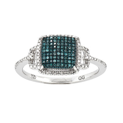 1/8 CT. T.W. White and Color-Enhanced Blue Diamond Square Ring