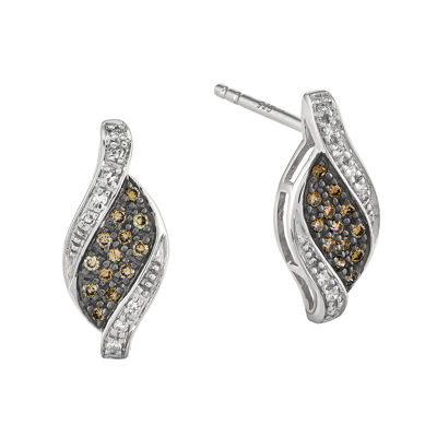 1/5 CT. T.W. White and Champagne Diamond Sterling Silver Marquise Stud Earrings