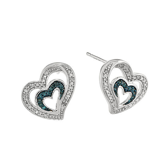 1 7 Ct Tw White And Color Enhanced Blue Diamond Sterling Silver Heart Stud Earrings