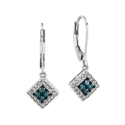 1/2 CT. T.W. White and Color-Enhanced Blue Diamond Sterling Silver Drop Earrings