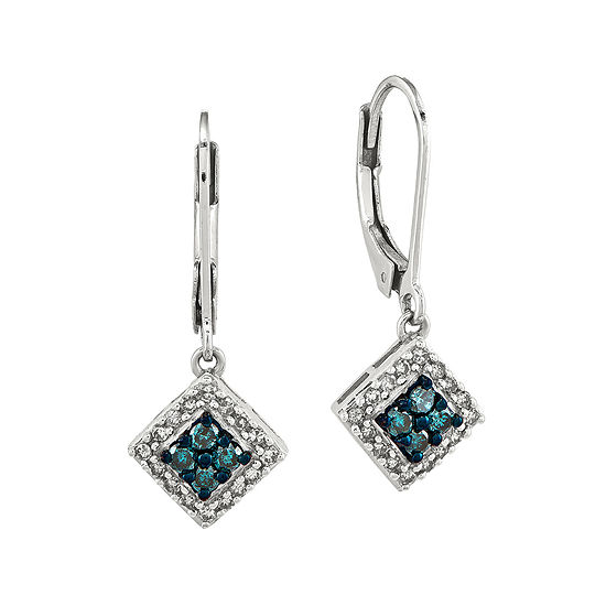 1 2 Ct Tw White And Color Enhanced Blue Diamond Sterling Silver Drop Earrings