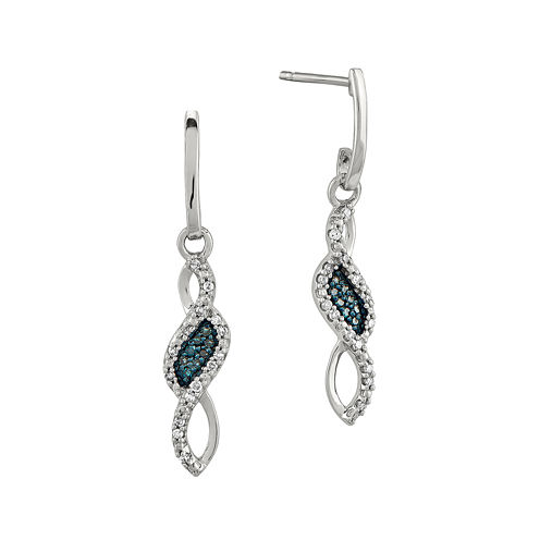 1/8 CT. T.W. White and Color-Enhanced Blue Diamond Sterling Silver Drop Earrings