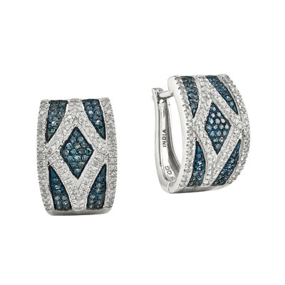 1/2 CT. T.W. White and Color-Enhanced Blue Diamond Sterling Silver Hoop Earrings