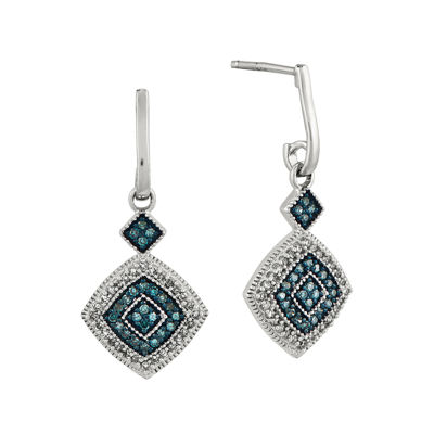 1/3 CT. T.W. White and Color-Enhanced Blue Diamond Sterling Silver Drop Earrings