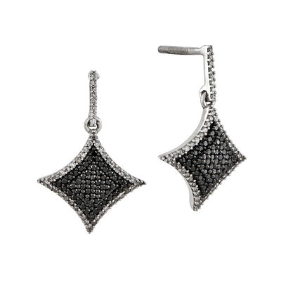 5/8 CT. T.W. White and Color-Enhanced Black Diamond Sterling Silver Drop Earrings