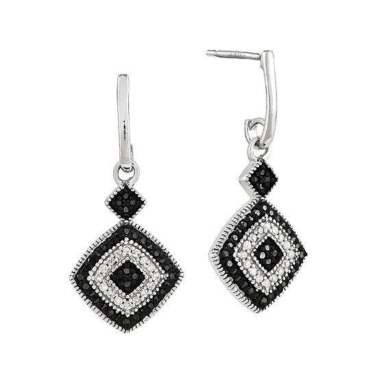 1/3 CT. T.W. White and Color-Enhanced Black Diamond Sterling Silver Drop Earrings