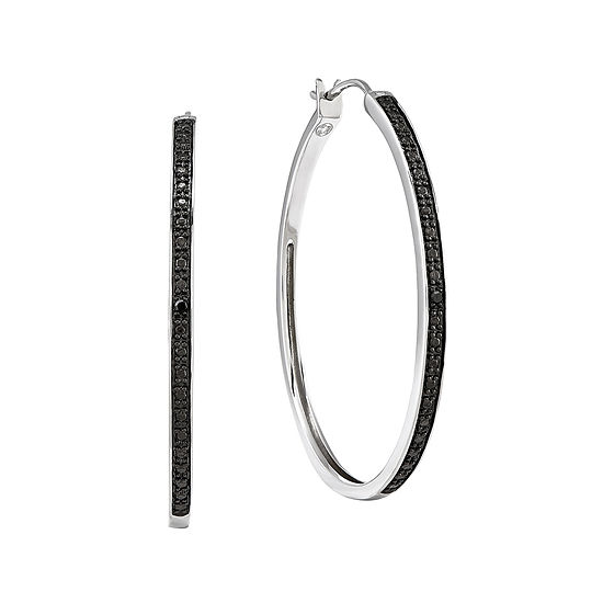 Color-Enhanced Black Diamond-Accent Sterling Silver Large Hoop Earrings