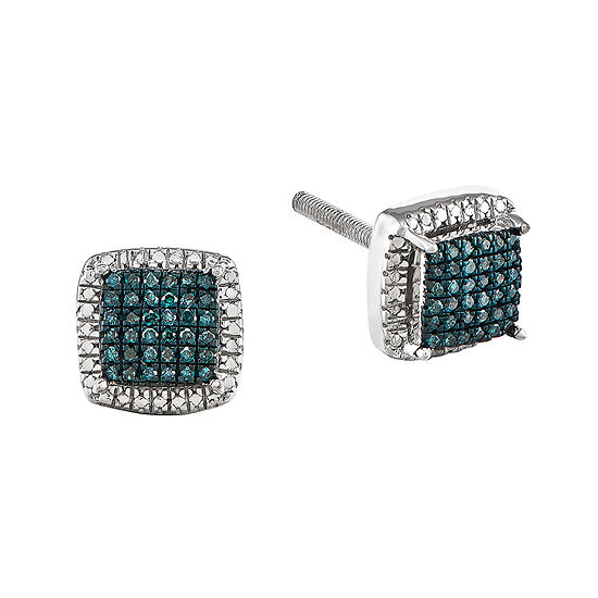 1/8 CT. T.W. White and Color-Enhanced Blue Diamond Sterling Silver Square Earrings