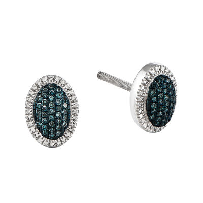1/10 CT. T.W. White and Blue Color-Enhanced Diamond Sterling Silver Oval Earrings